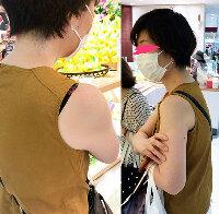 【ブラチラ】お母さんとお買い物に来たマダムは肩から高そうなブラジャーをチラチラっ